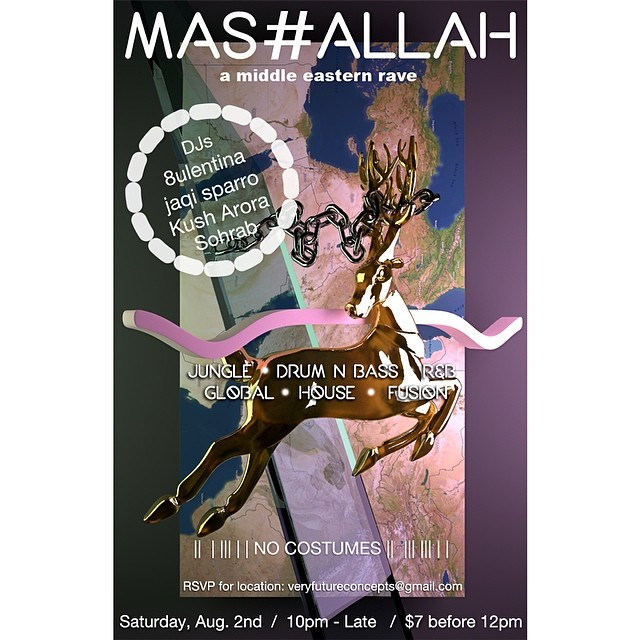 Come thru this saturday! 080214: Creating space from the collective imagination of contemporary Middle Eastern artists, thinkers, and creators. #undergroundparty #oakland #thisweekend #mashallah #globalfam #pocvoice #exploration